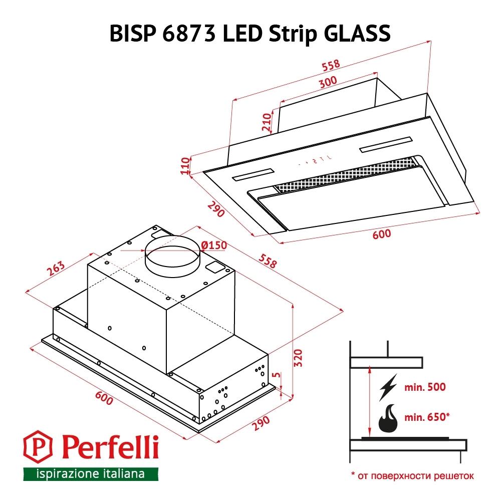 Fully built-in Hood Perfelli BISP 6873 BL LED Strip GLASS