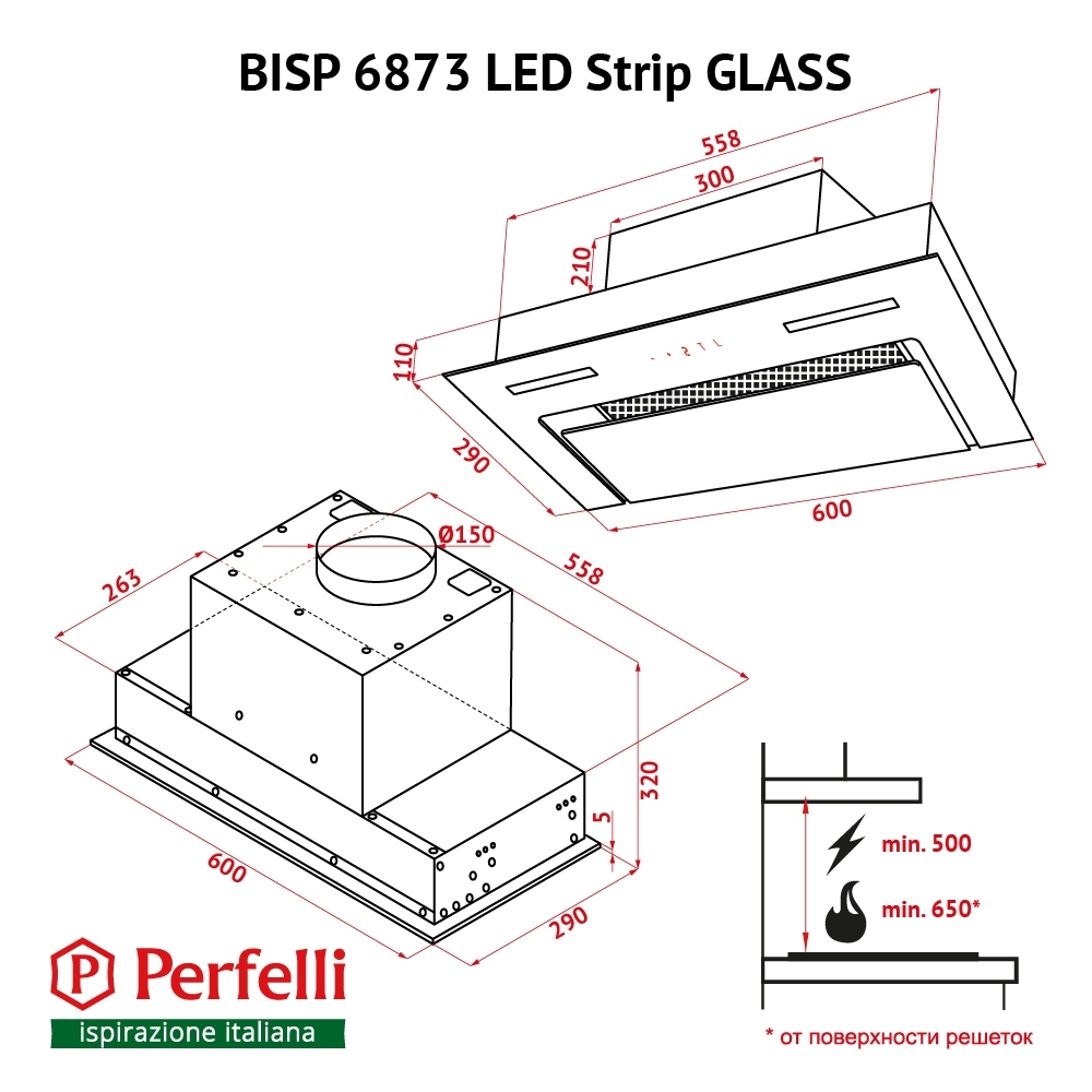 Fully built-in Hood Perfelli BISP 6873 WH LED Strip GLASS