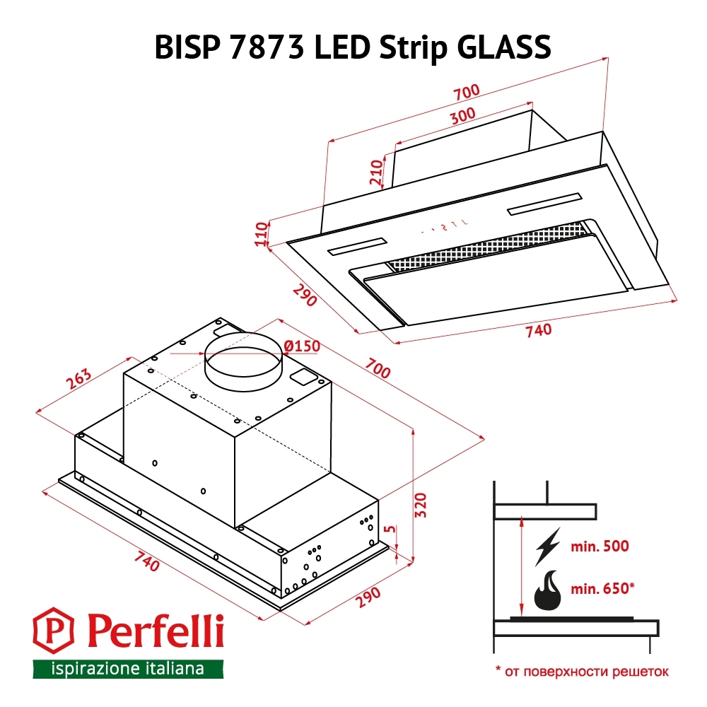 Fully built-in Hood Perfelli BISP 7873 BL LED Strip GLASS
