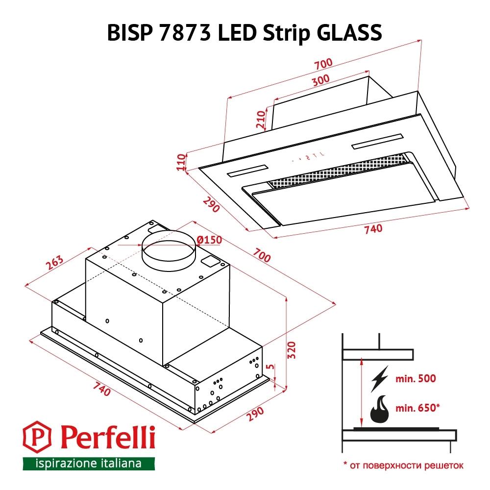 Fully built-in Hood Perfelli BISP 7873 BL LED Strip GLASS