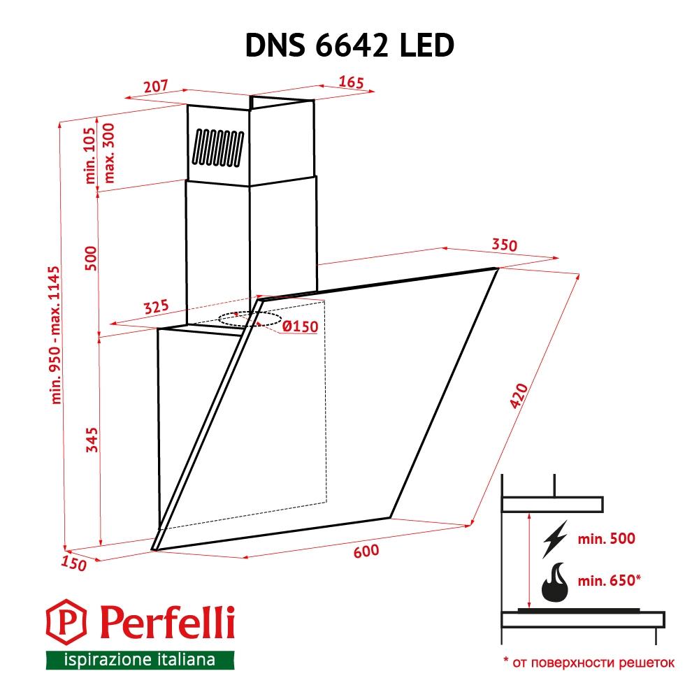 Decorative Incline Hood Perfelli DNS 6642 BL LED