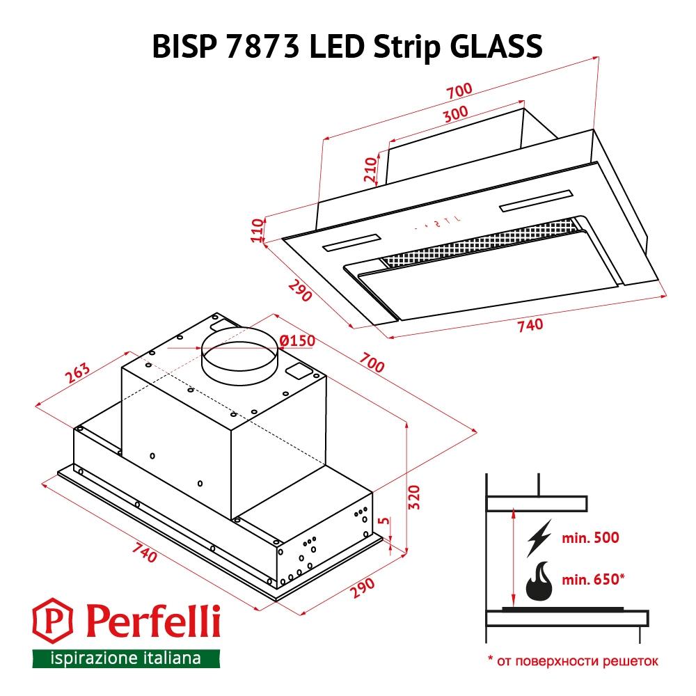 Fully built-in Hood Perfelli BISP 7873 WH LED Strip GLASS