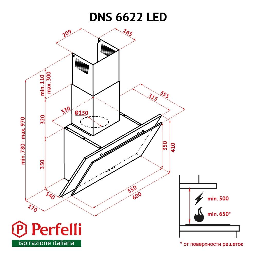 Decorative Incline Hood Perfelli DNS 6622 BL LED