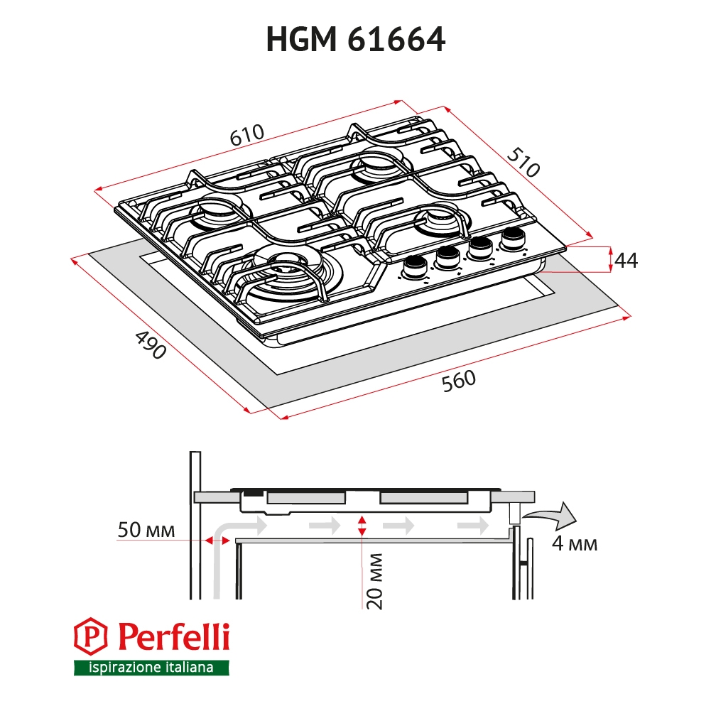 Gas Surface On Metal Perfelli HGM 61664 WH