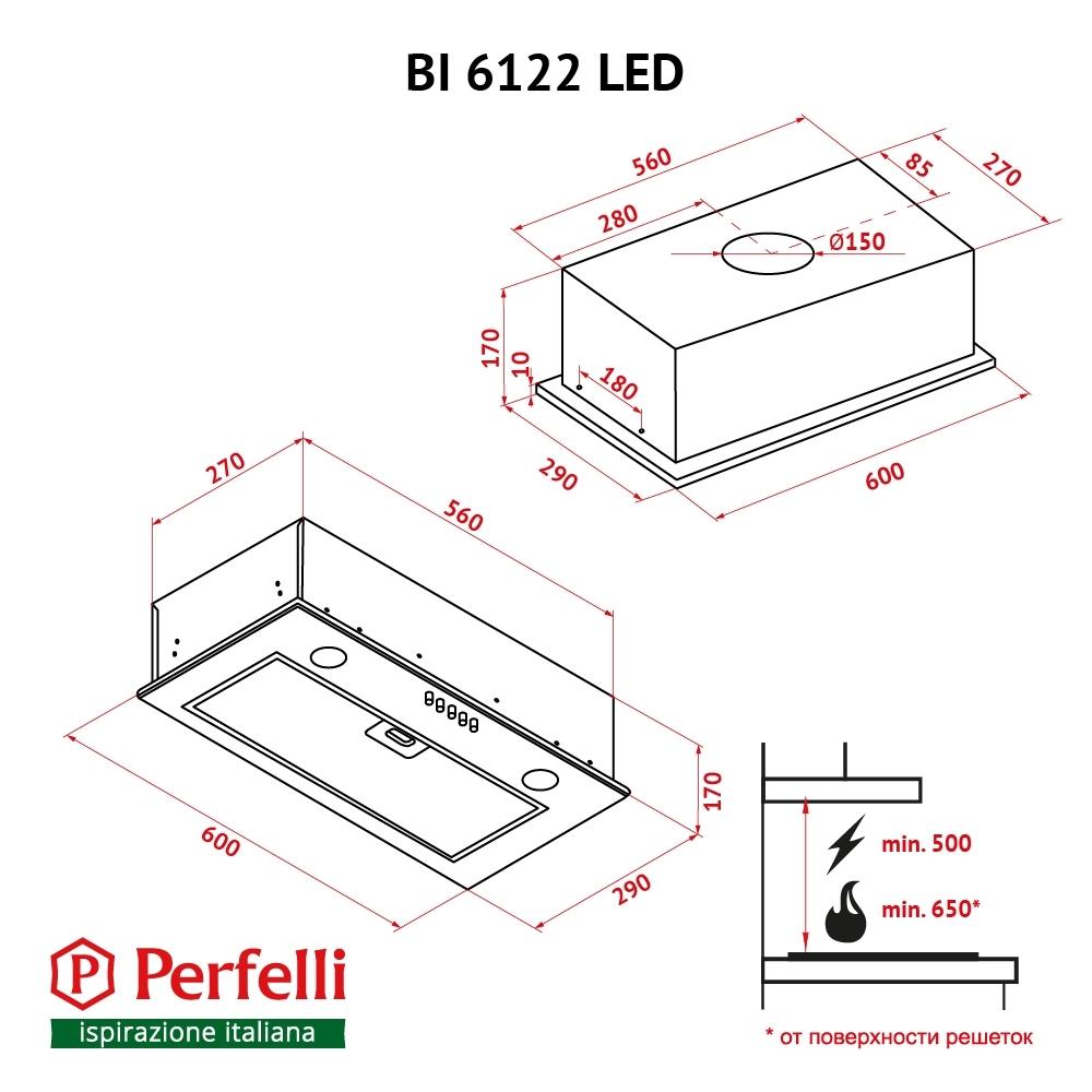 Вытяжка полновстраиваемая Perfelli BI 6122 I LED