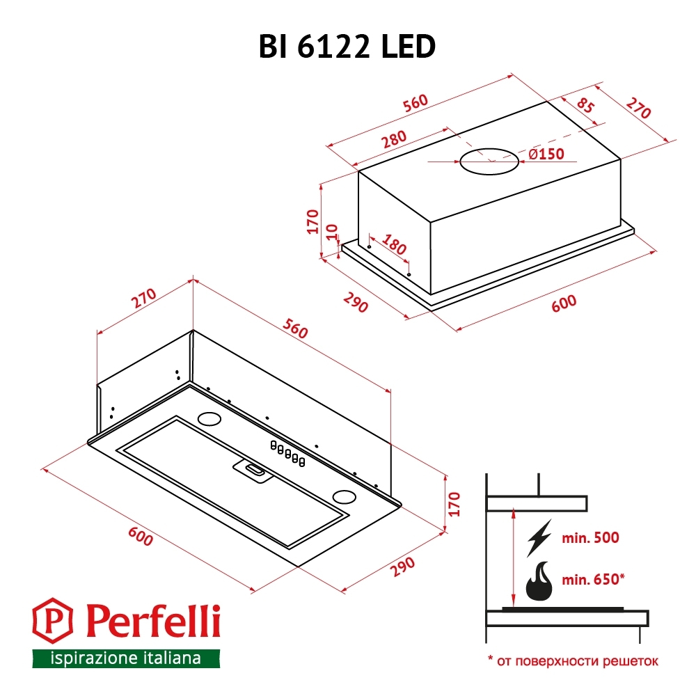 Fully built-in Hood Perfelli BI 6122 BL LED