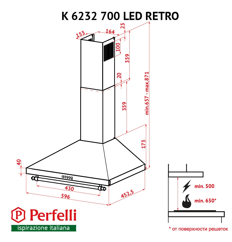 Dome hood Perfelli K 6232 BL 700 LED RETRO