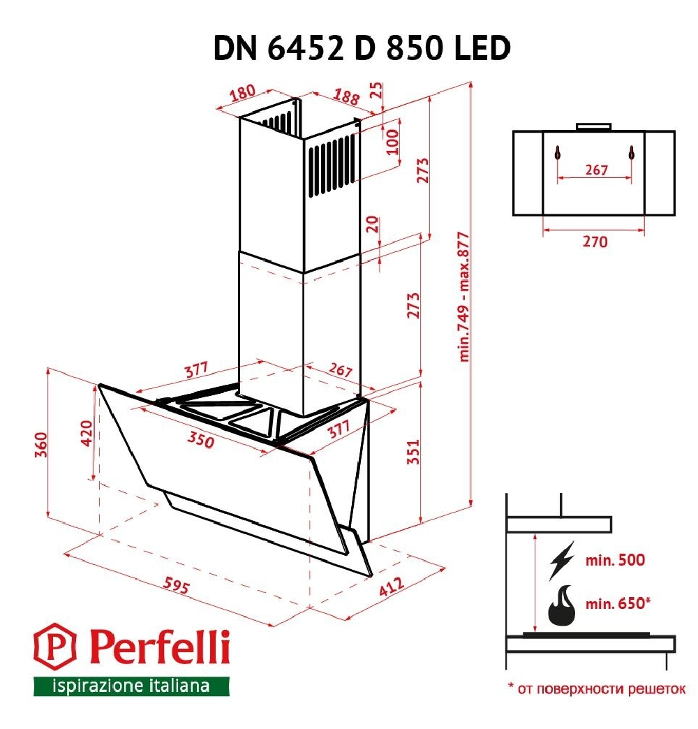 Витяжка декоративна похила Perfelli DN 6452 D 850 BL LED