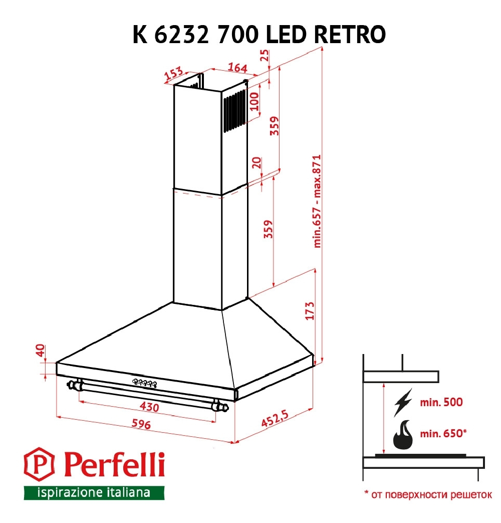 Витяжка купольна Perfelli K 6232 IV 700 LED RETRO