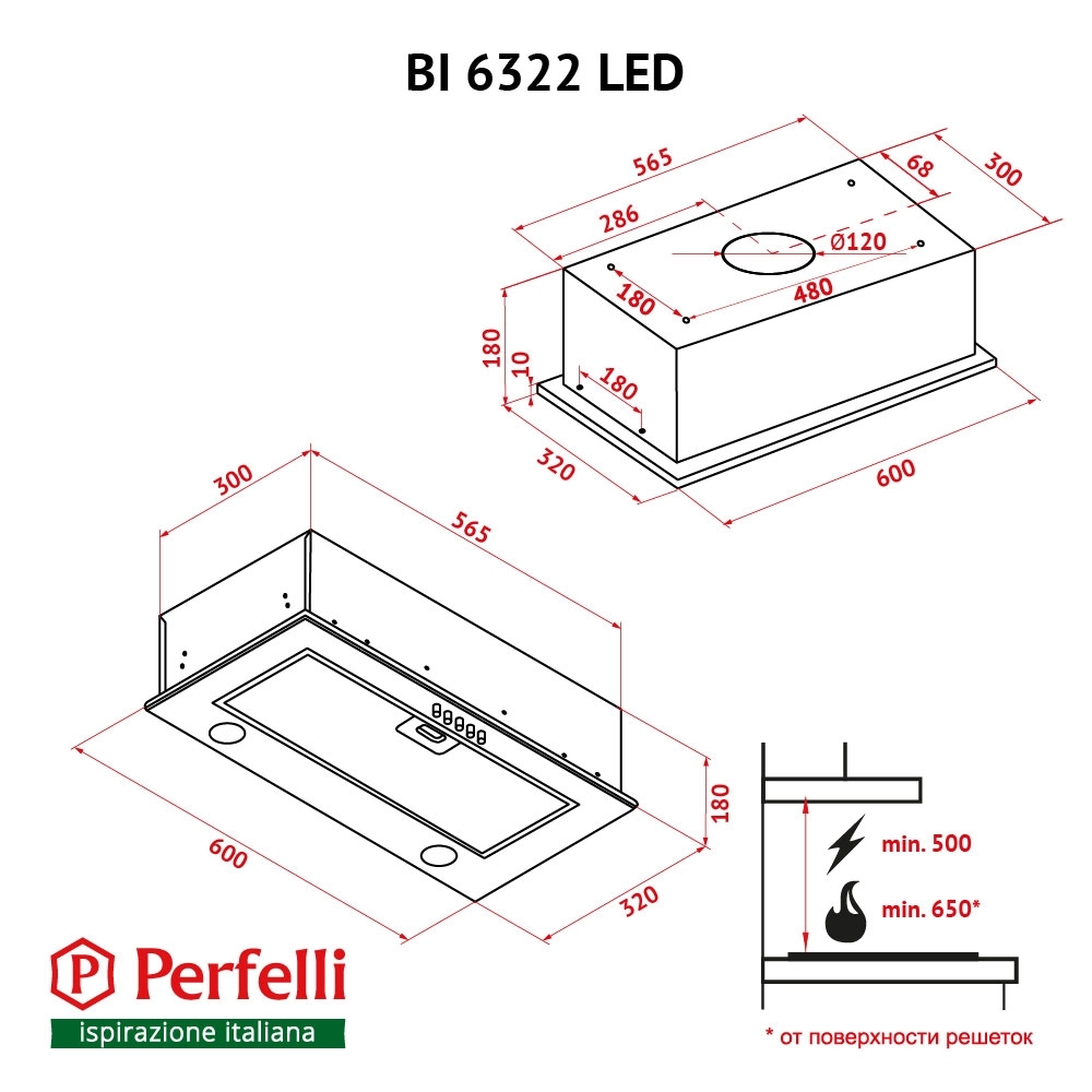 Fully built-in Hood Perfelli BI 6322 IV LED