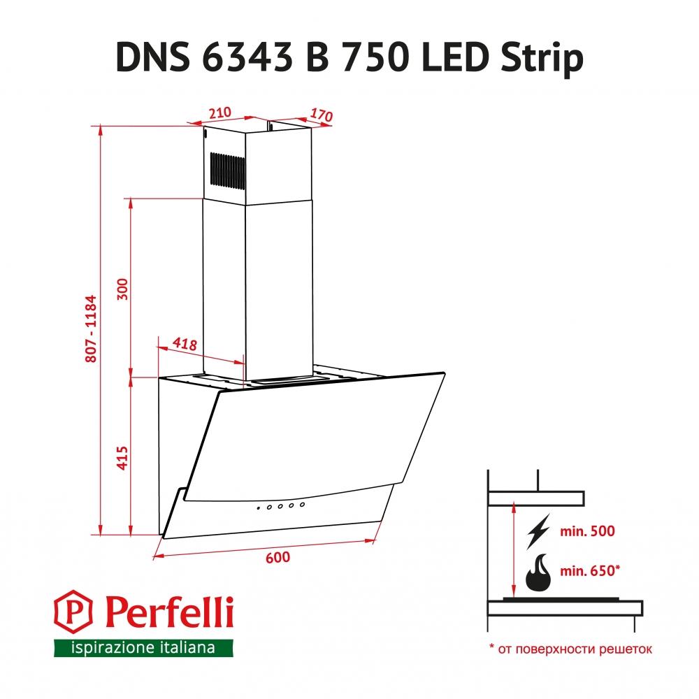 Decorative Incline Hood Perfelli DNS 6343 B 750 BL LED Strip