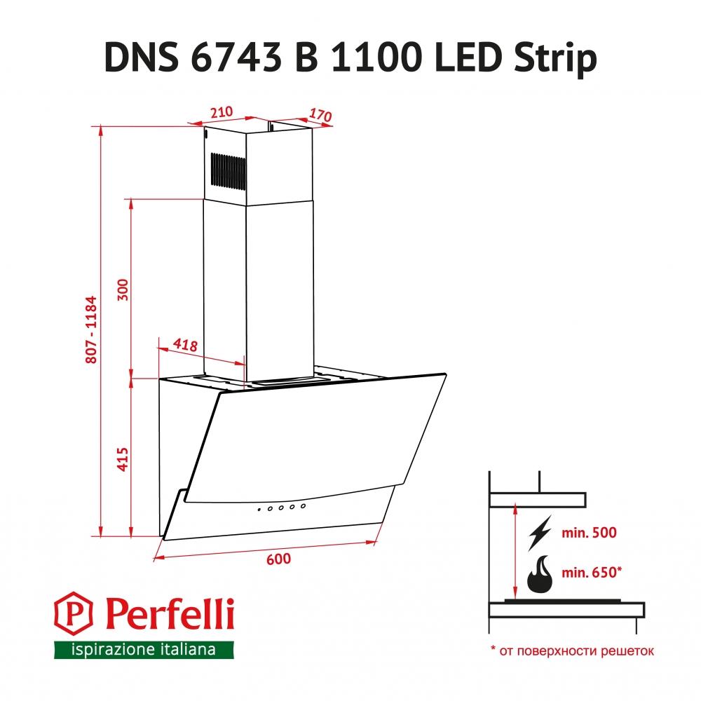 Decorative Incline Hood Perfelli DNS 6743 B 1100 BL LED Strip