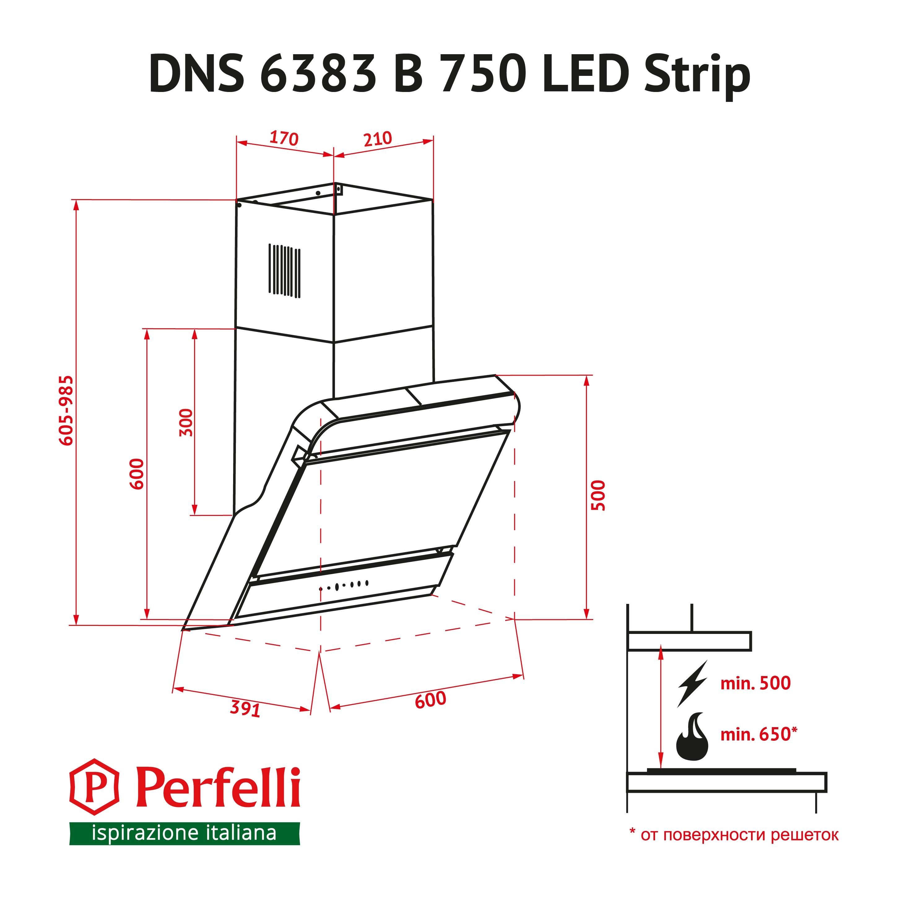 Decorative Incline Hood Perfelli DNS 6383 B 750 BL LED Strip