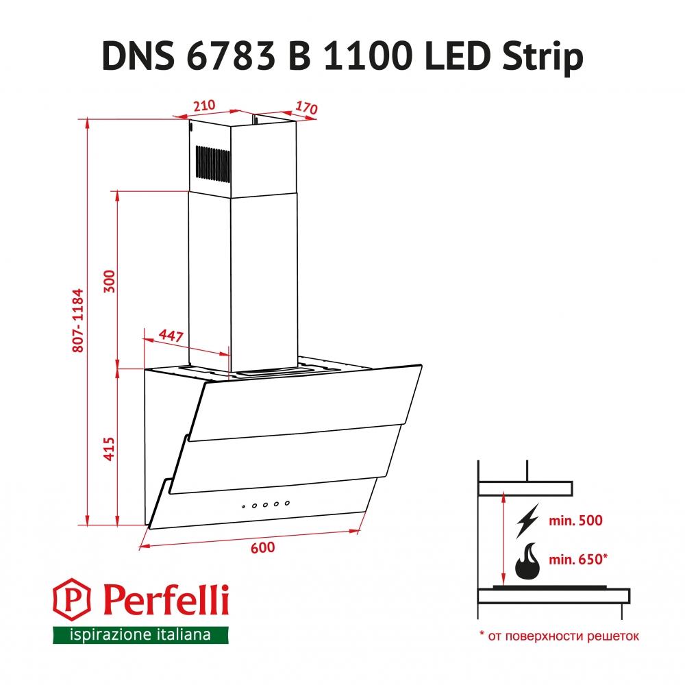 Decorative Incline Hood Perfelli DNS 6783 B 1100 BL LED Strip