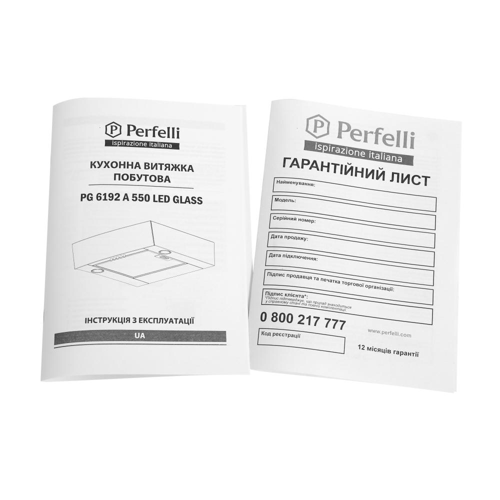 Вытяжка встраиваемая Perfelli PG 6192 A 550 W LED GLASS