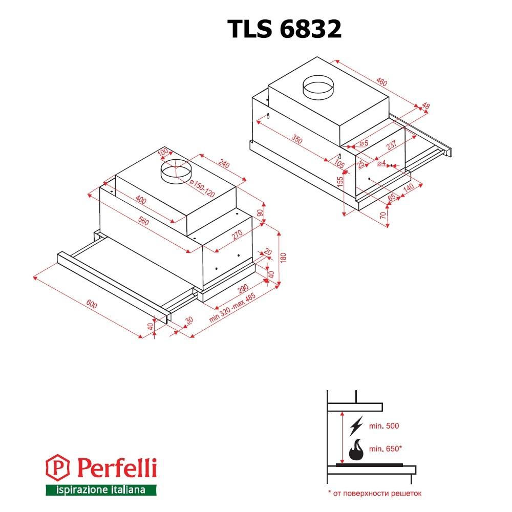 Вытяжка телескопическая Perfelli TLS 6832 BL LED
