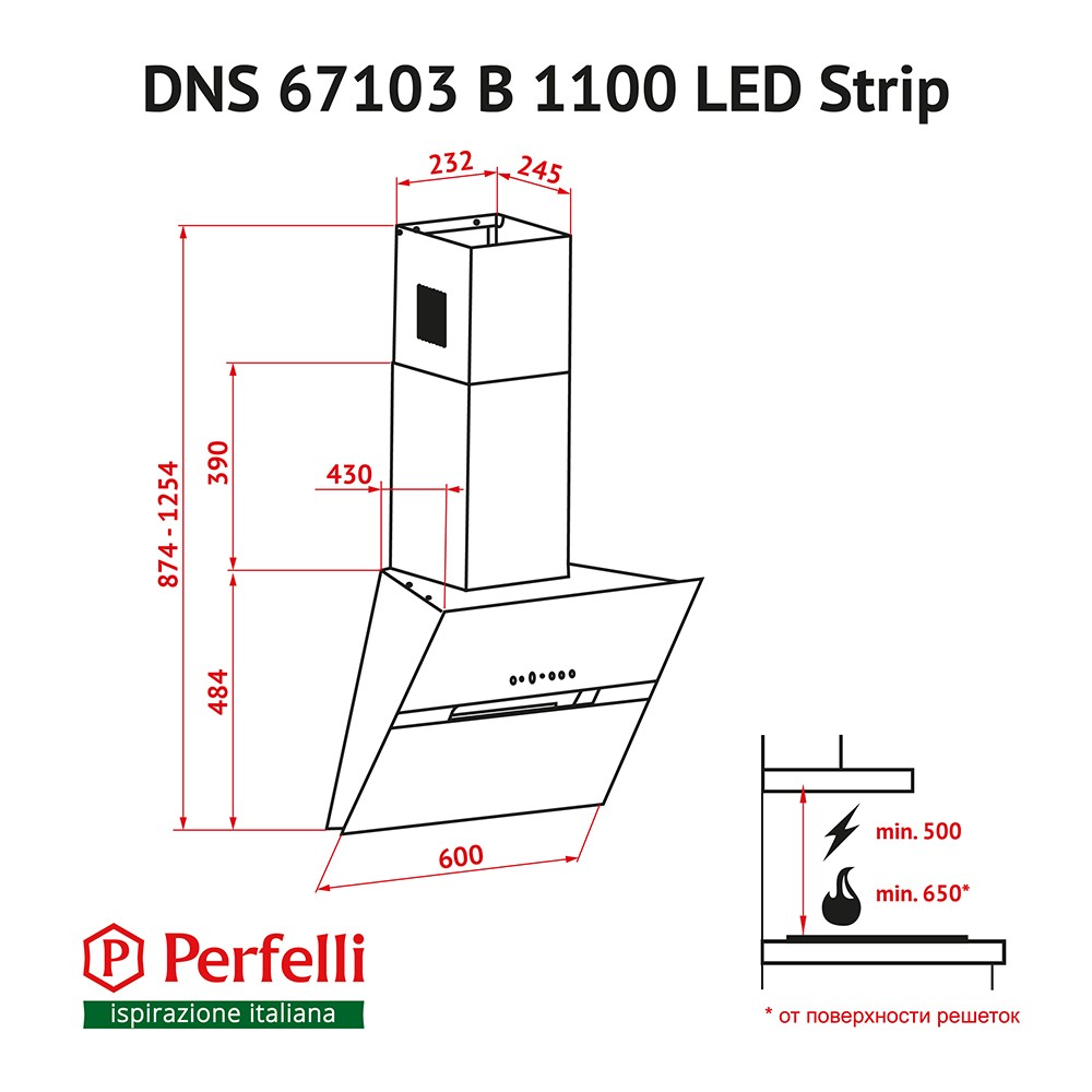 Decorative Incline Hood Perfelli DNS 67103 B 1100 BL LED Strip