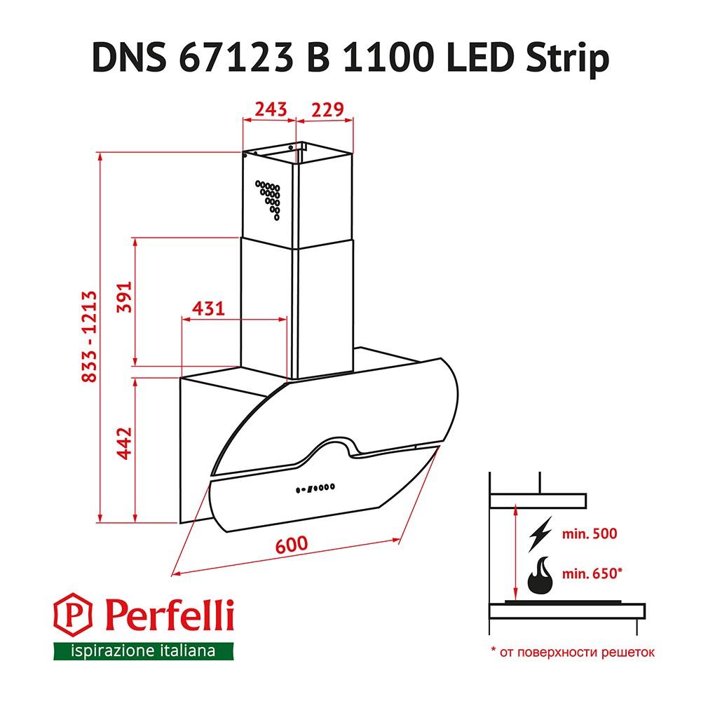 Decorative Incline Hood Perfelli DNS 67123 B 1100 BL LED Strip