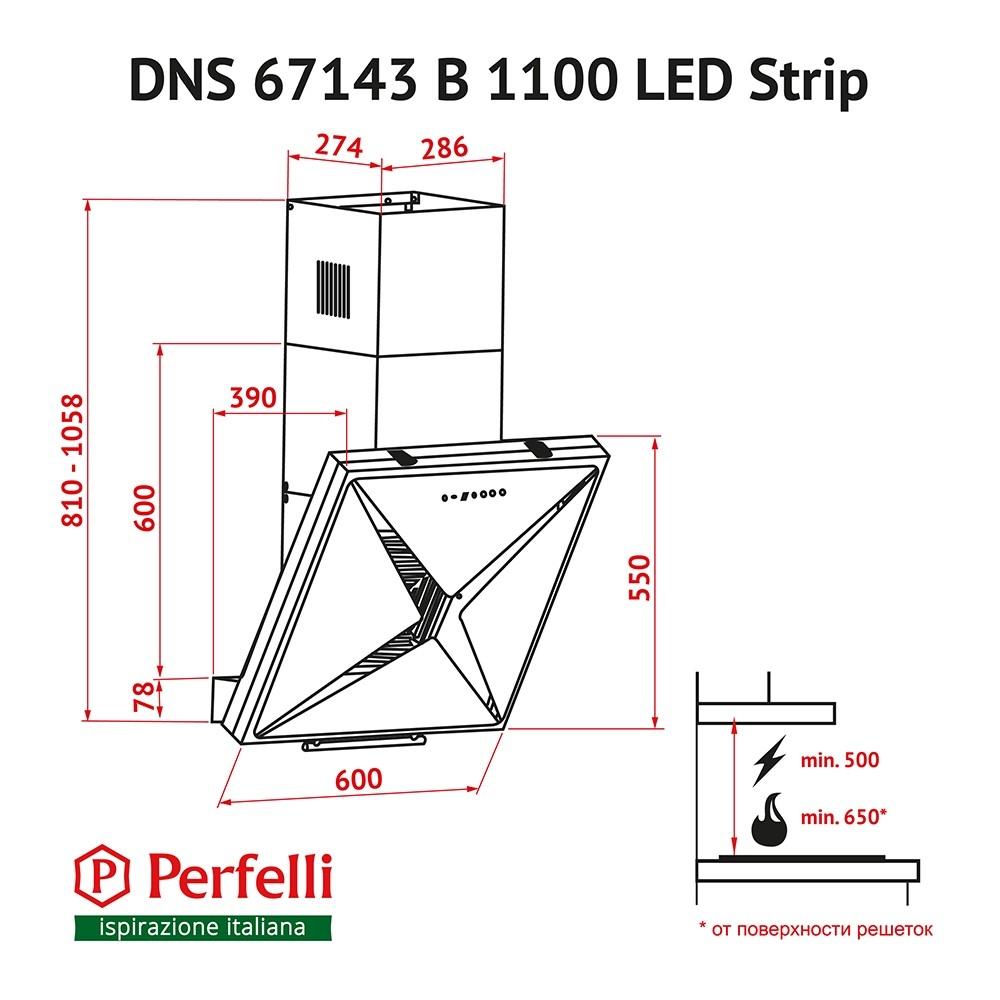 Decorative Incline Hood Perfelli DNS 67143 B 1100 BL LED Strip