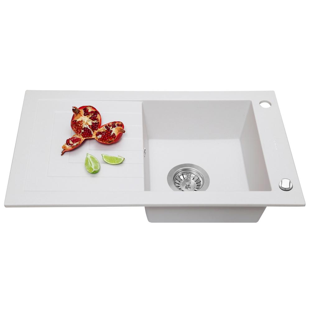 Granite kitchen sink Perfelli AZZURO PGA 115-78 WHITE