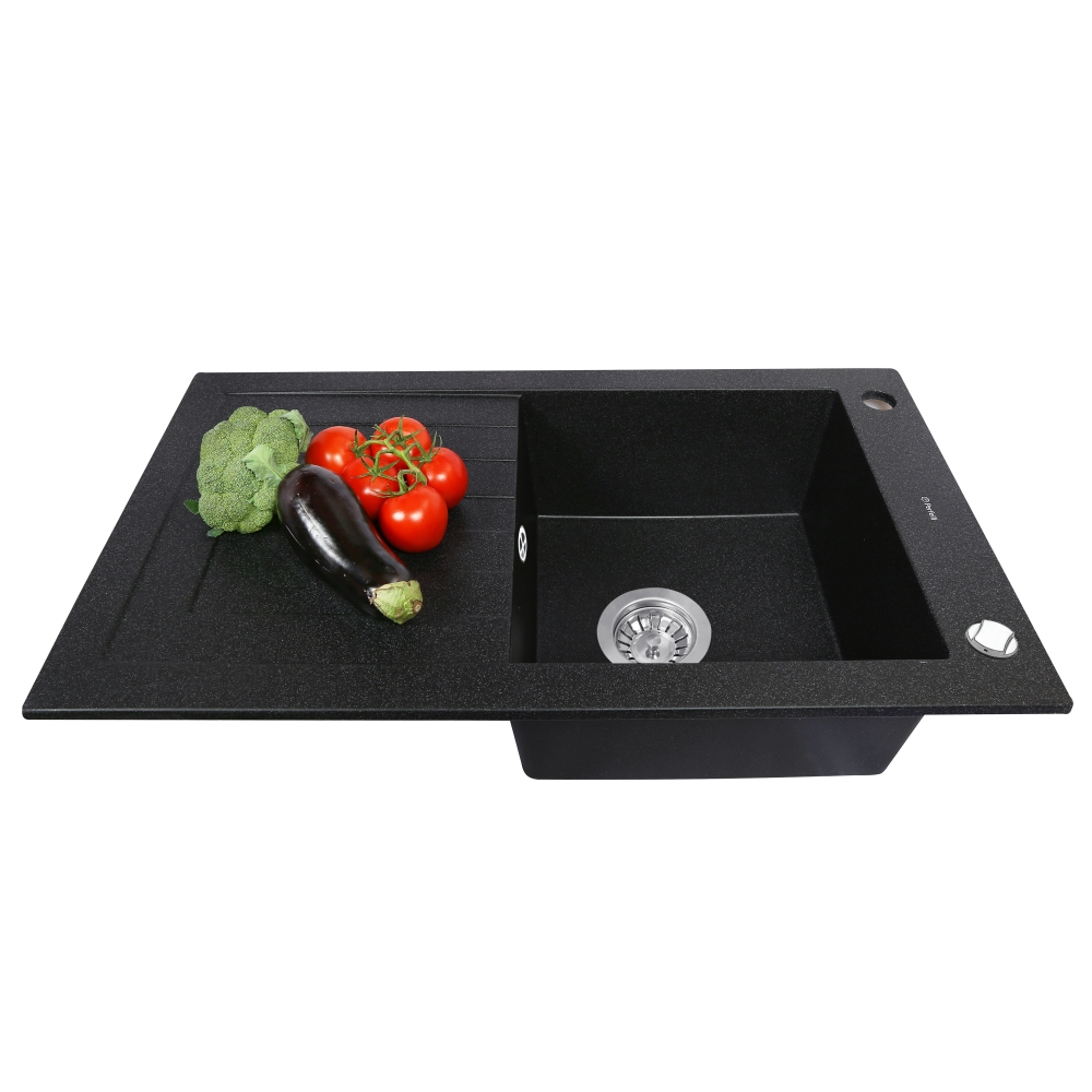 Granite kitchen sink Perfelli AZZURO PGA 1151-78 BLACK METALLIC