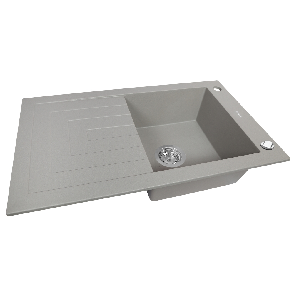 Granite kitchen sink Perfelli AZZURO PGA 1151-78 GREY METALLIC