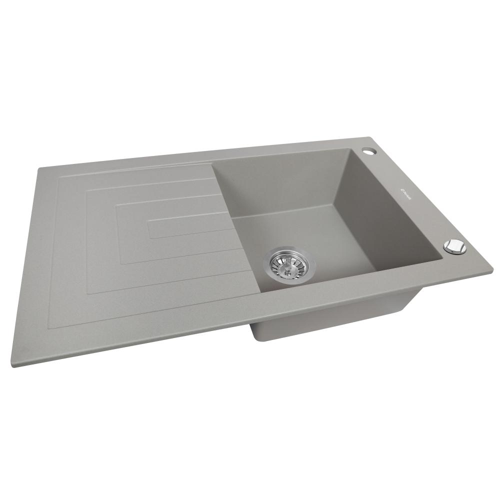 Мийка кухонна гранітна  Perfelli AZZURO PGA 1151-78 GREY METALLIC