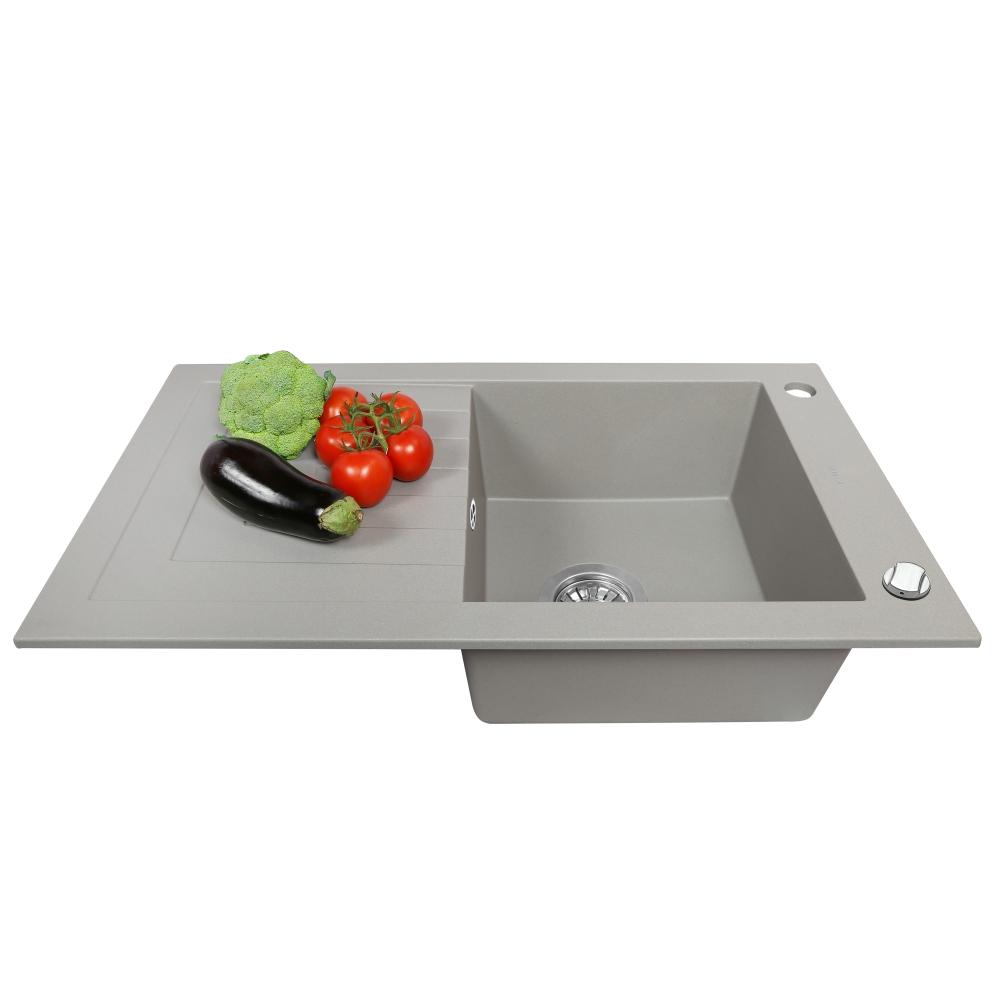 Мойка кухонная гранитная  Perfelli AZZURO PGA 1151-78 GREY METALLIC