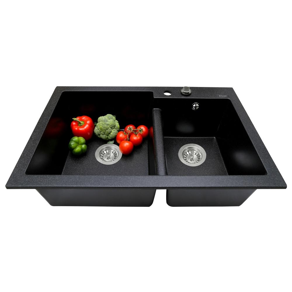 Lavello da cucina in granito Perfelli BIANCO PGB 208-79 BLACK
