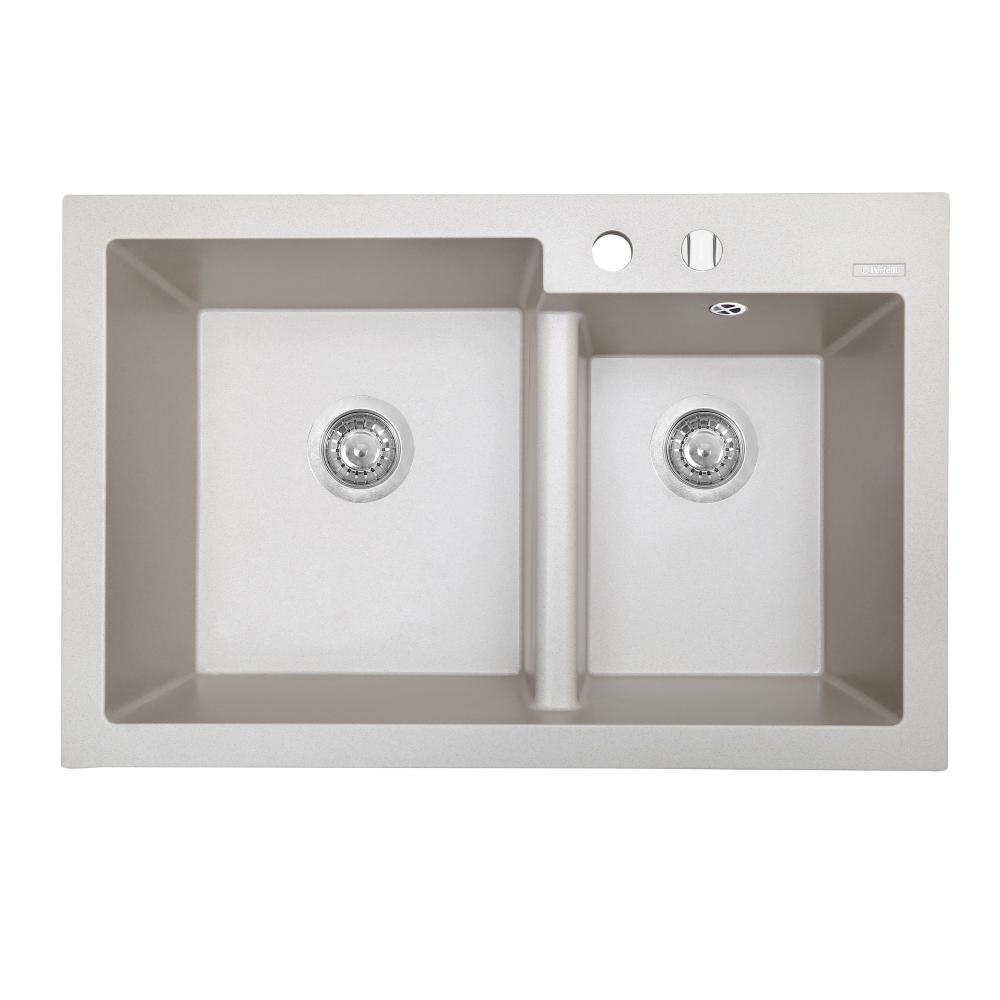Granite kitchen sink Perfelli BIANCO PGB 208-79 LIGHT BEIGE