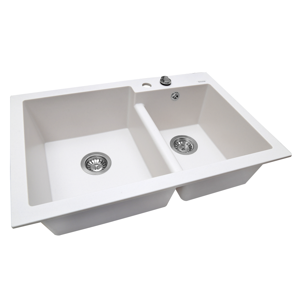Granite kitchen sink Perfelli BIANCO PGB 208-79 WHITE
