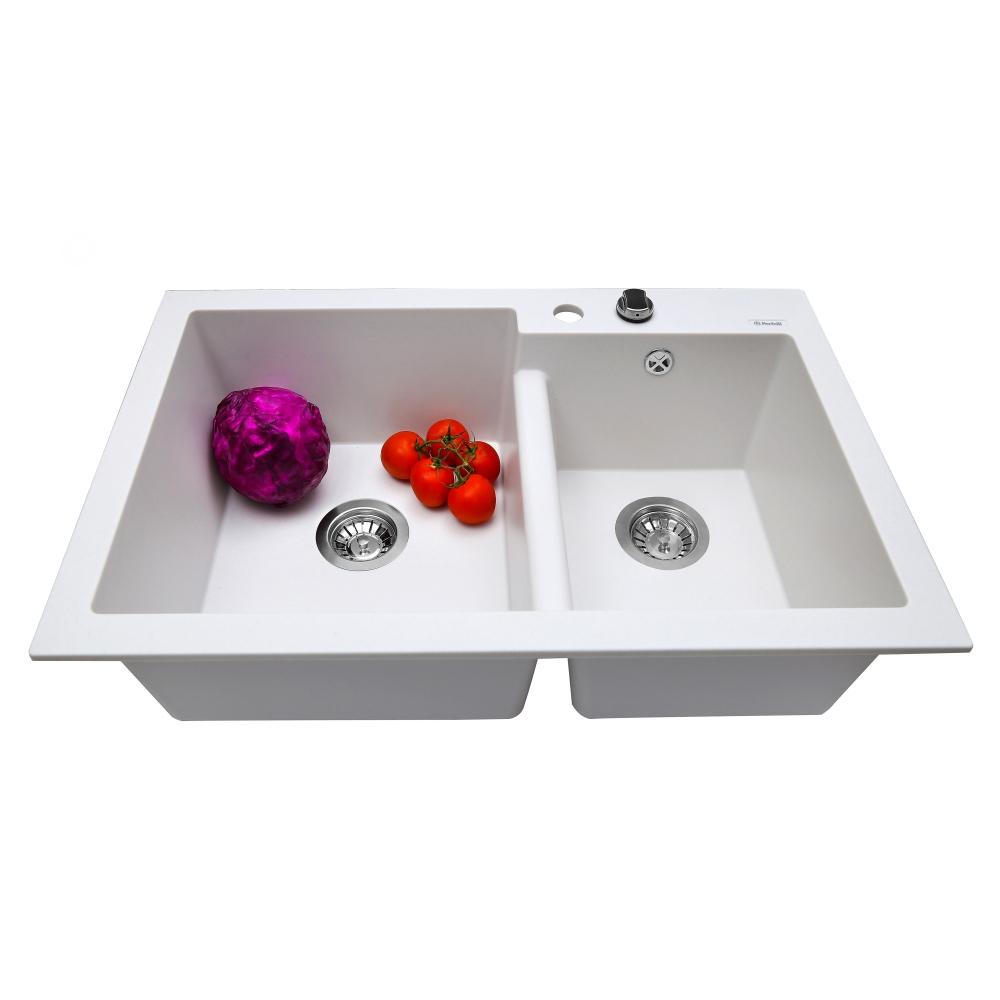 Lavello da cucina in granito Perfelli BIANCO PGB 208-79 WHITE