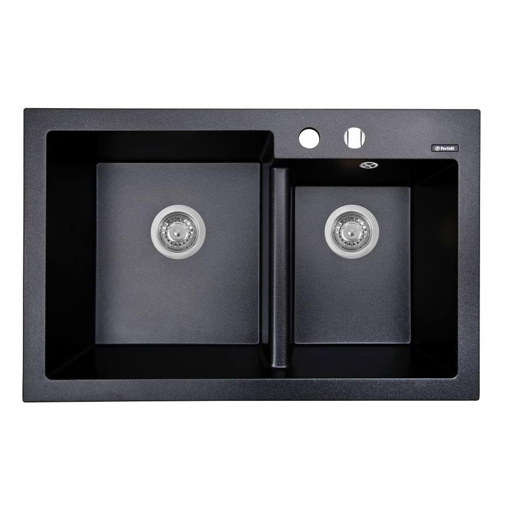 Granite kitchen sink Perfelli BIANCO PGB 2081-79 BLACK METALLIC