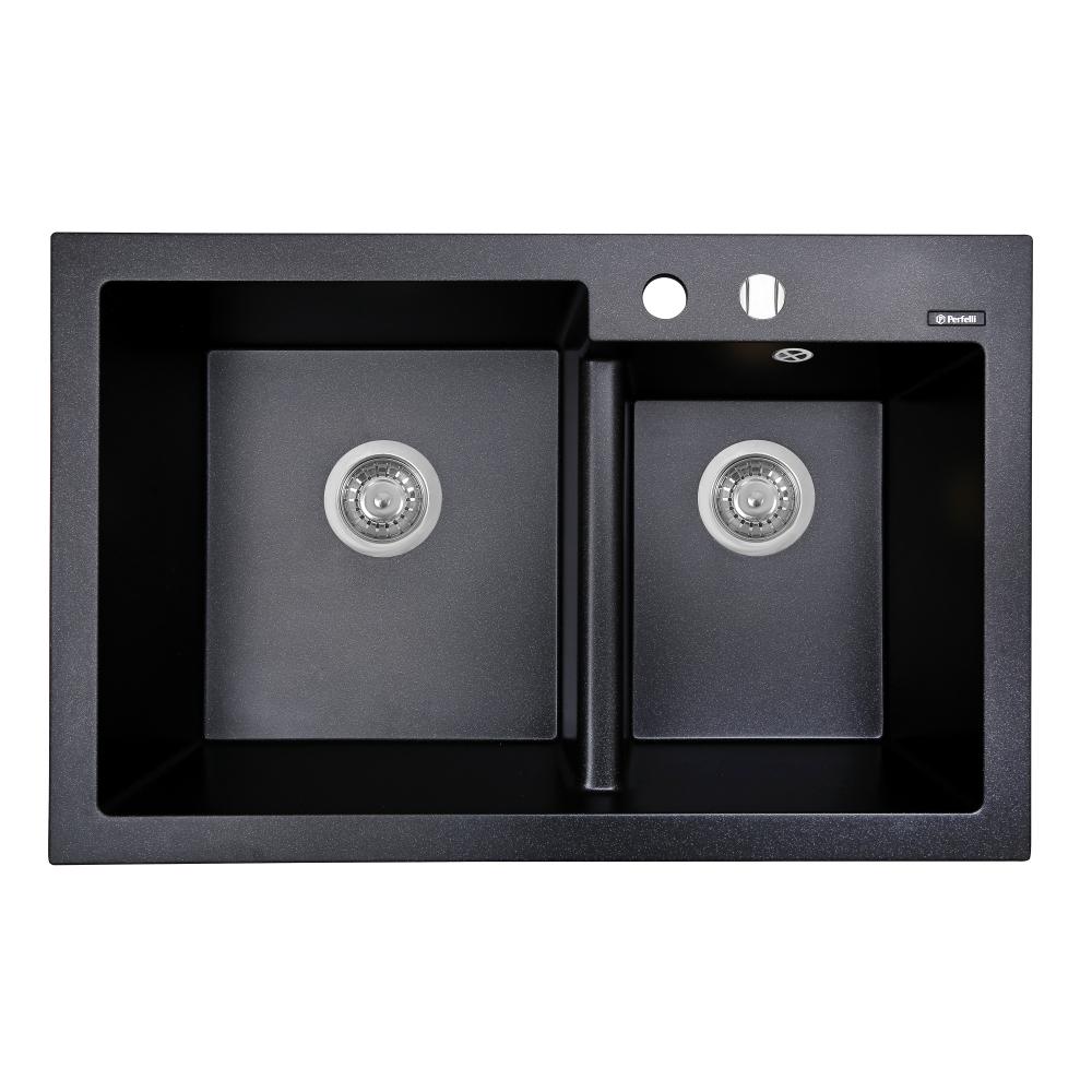 Мийка кухонна гранітна  Perfelli BIANCO PGB 2081-79 BLACK METALLIC