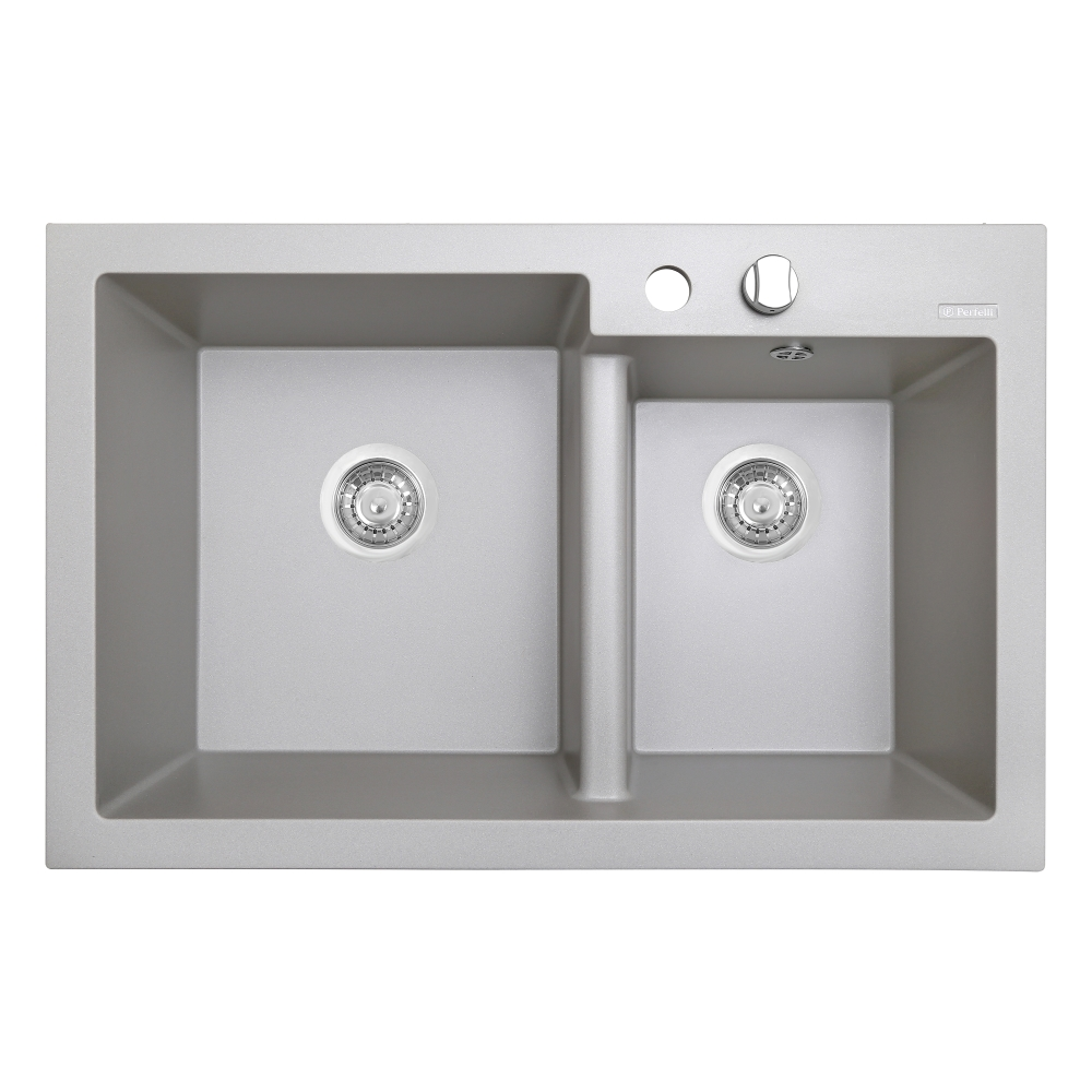 Granite kitchen sink Perfelli BIANCO PGB 2081-79 GREY METALLIC