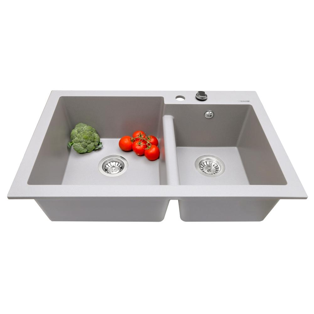 Мийка кухонна гранітна  Perfelli BIANCO PGB 2081-79 GREY METALLIC