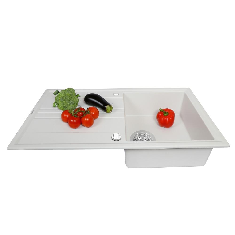 Lavello da cucina in granito Perfelli CAPIANO PGC 114-86 WHITE