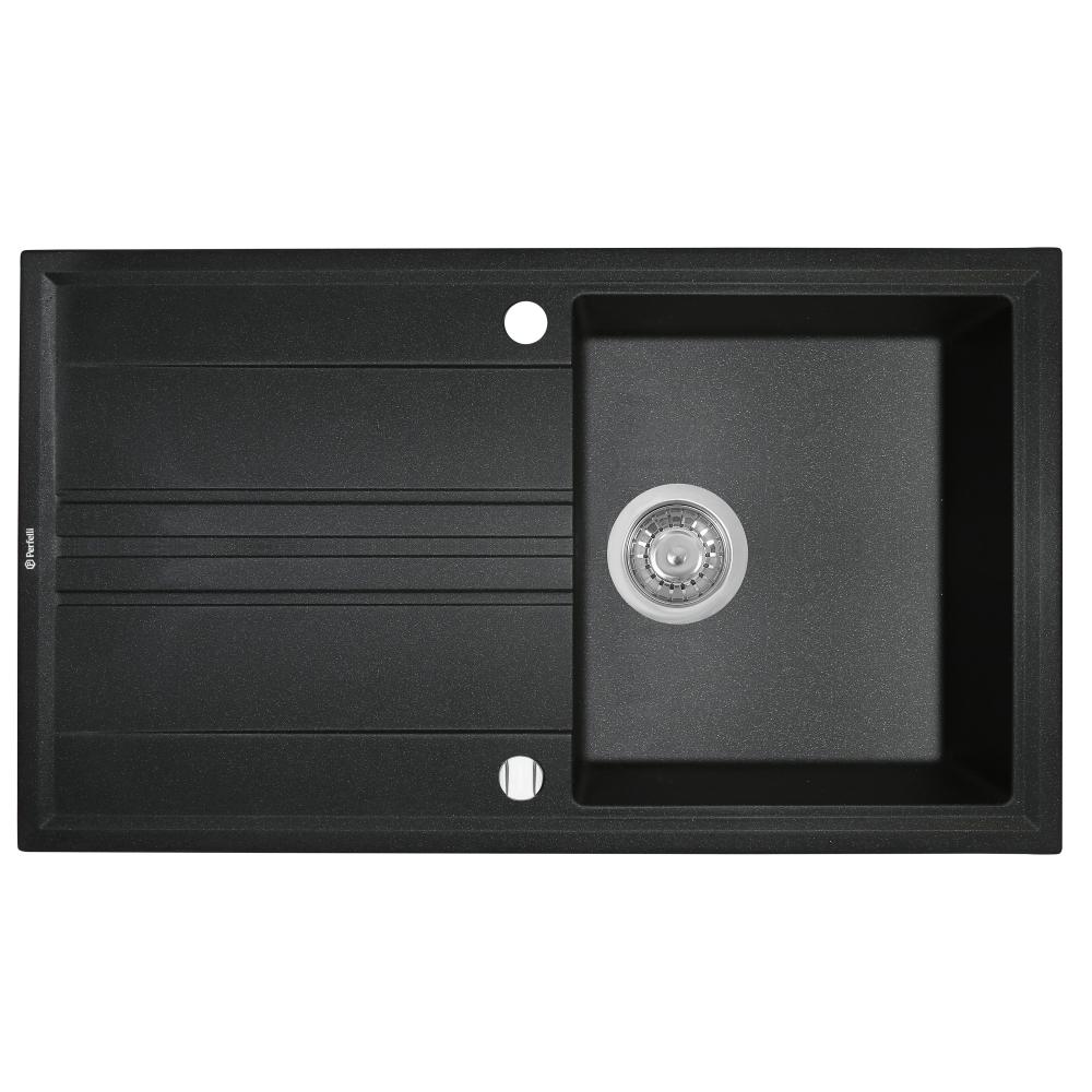 Granite kitchen sink Perfelli CAPIANO PGC 1141-86 BLACK METALLIC