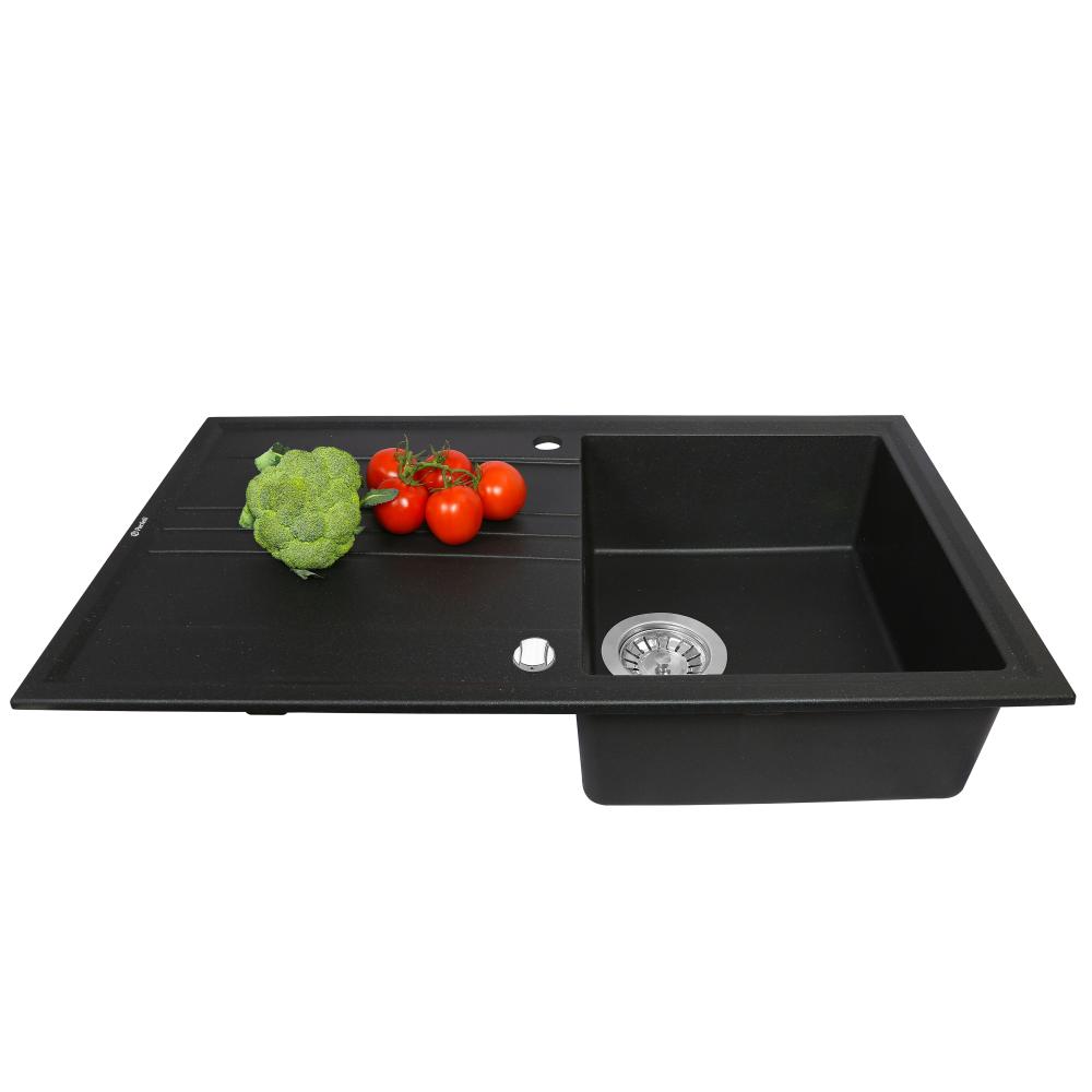 Мийка кухонна гранітна  Perfelli CAPIANO PGC 1141-86 BLACK METALLIC