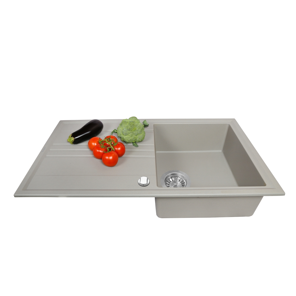 Granite kitchen sink Perfelli CAPIANO PGC 1141-86 GREY METALLIC