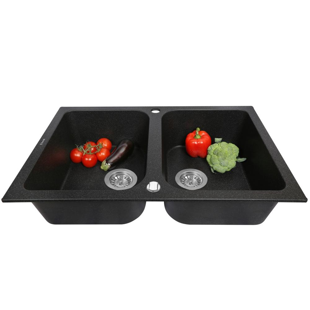 Lavello da cucina in granito Perfelli CELINE PGC 208-76 BLACK