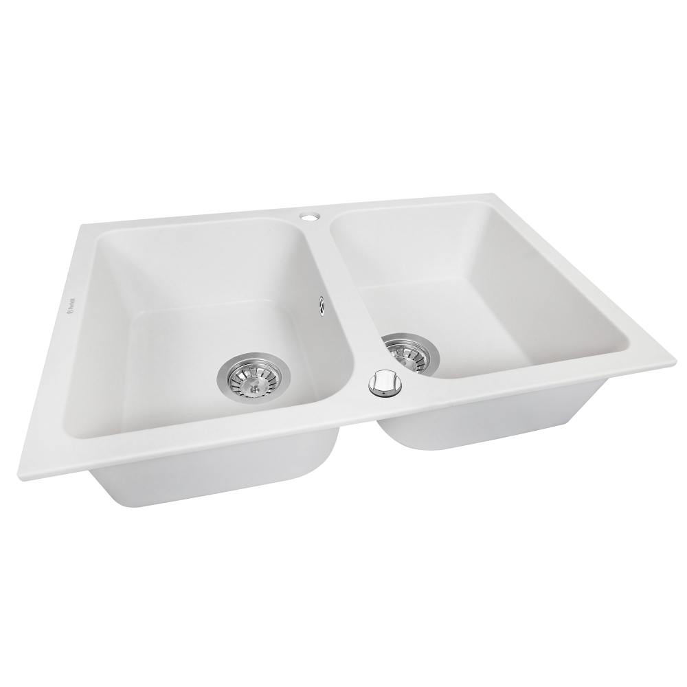 Granite kitchen sink Perfelli CELINE PGC 208-76 WHITE