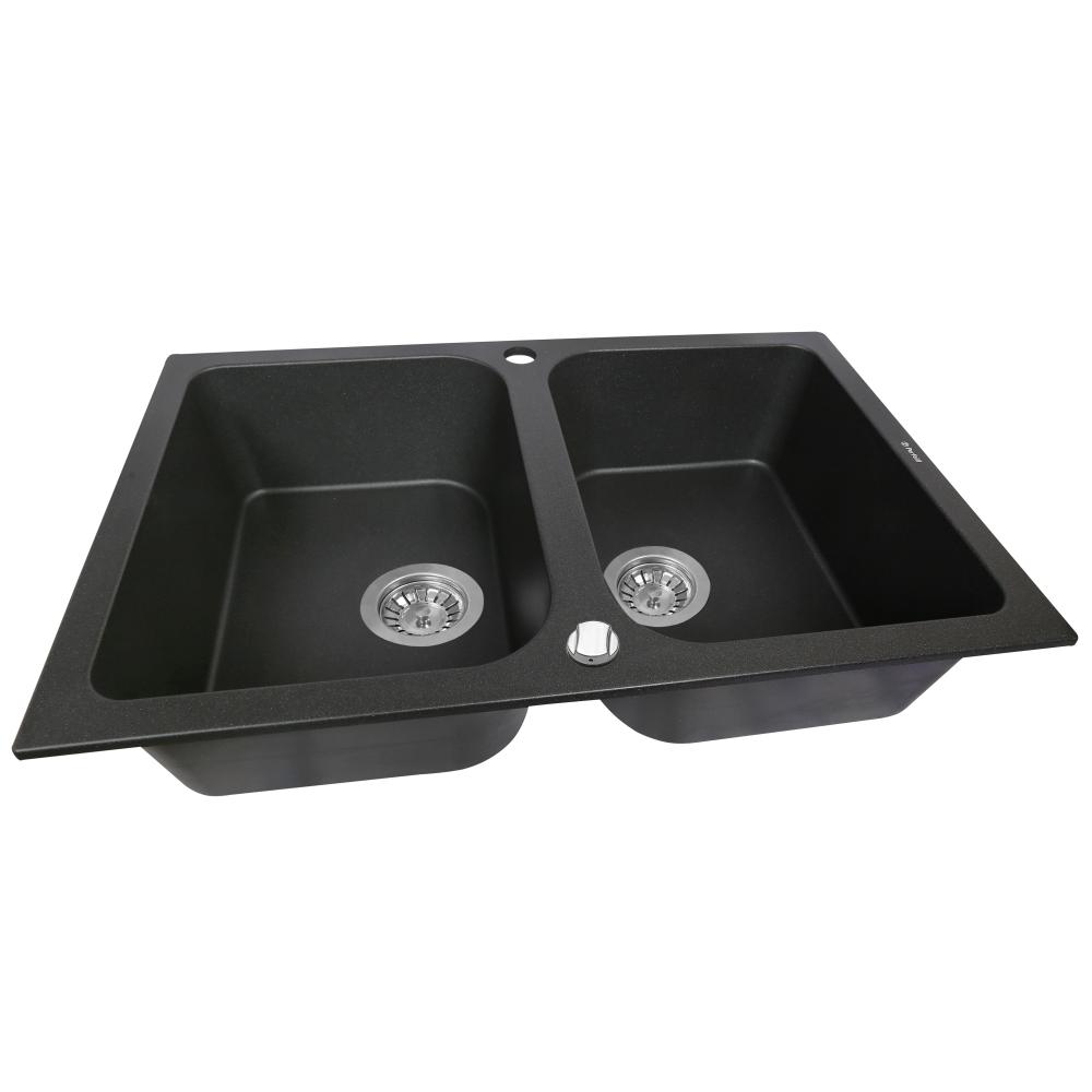 Granite kitchen sink Perfelli CELINE PGC 2081-76 BLACK METALLIC