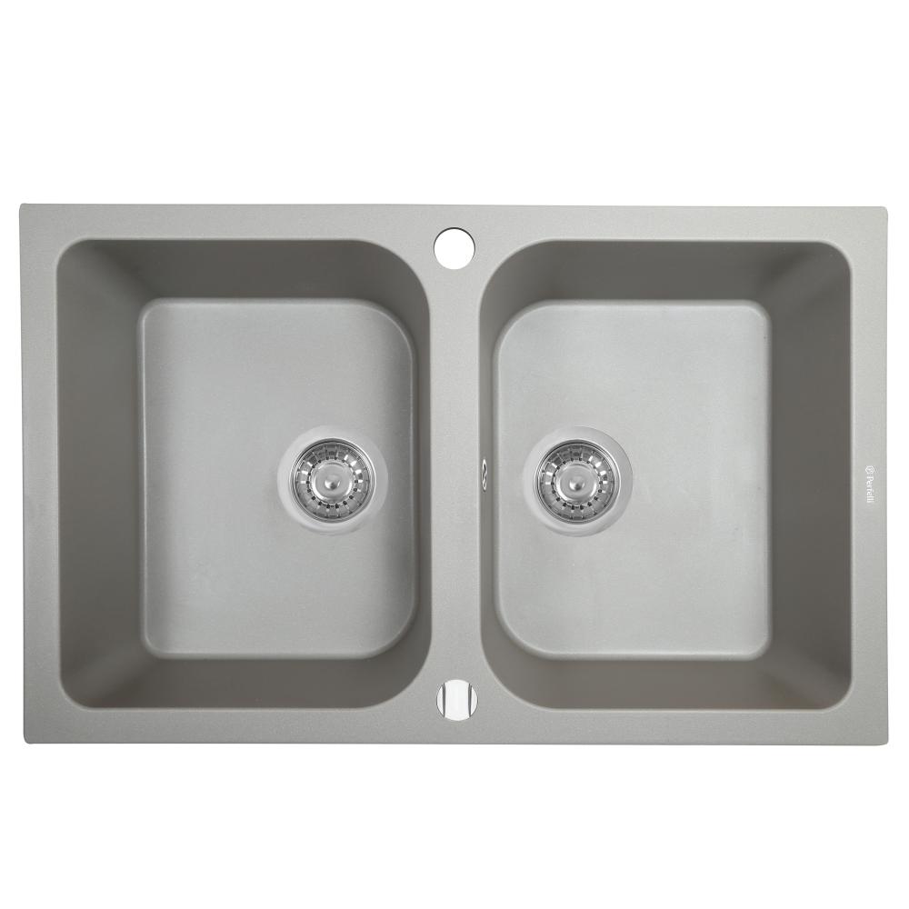 Мийка кухонна гранітна  Perfelli CELINE PGC 2081-76 GREY METALLIC