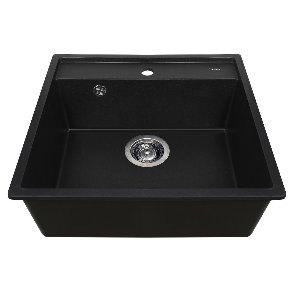 Granite kitchen sink Perfelli ESOTTO PGE 101-50 BLACK METALLIC