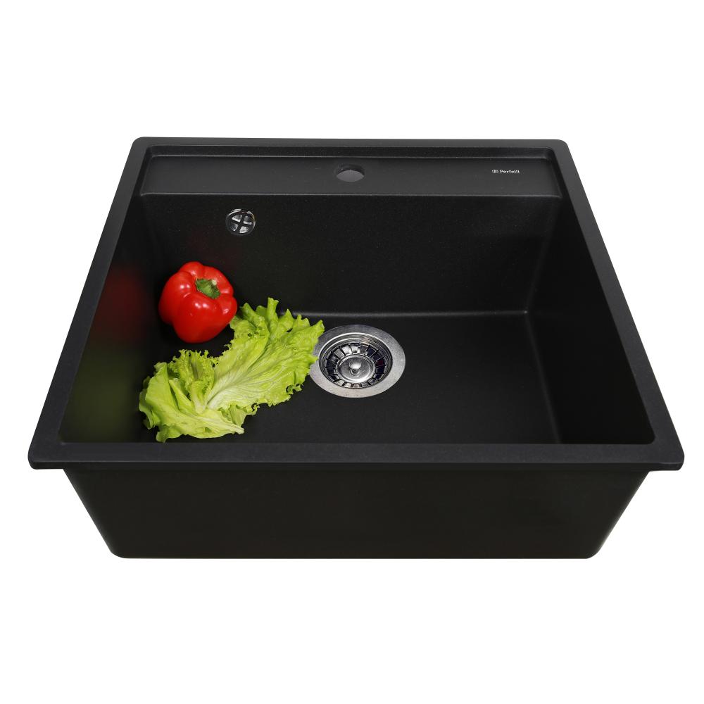 Мийка кухонна гранітна  Perfelli ESOTTO PGE 101-50 BLACK METALLIC