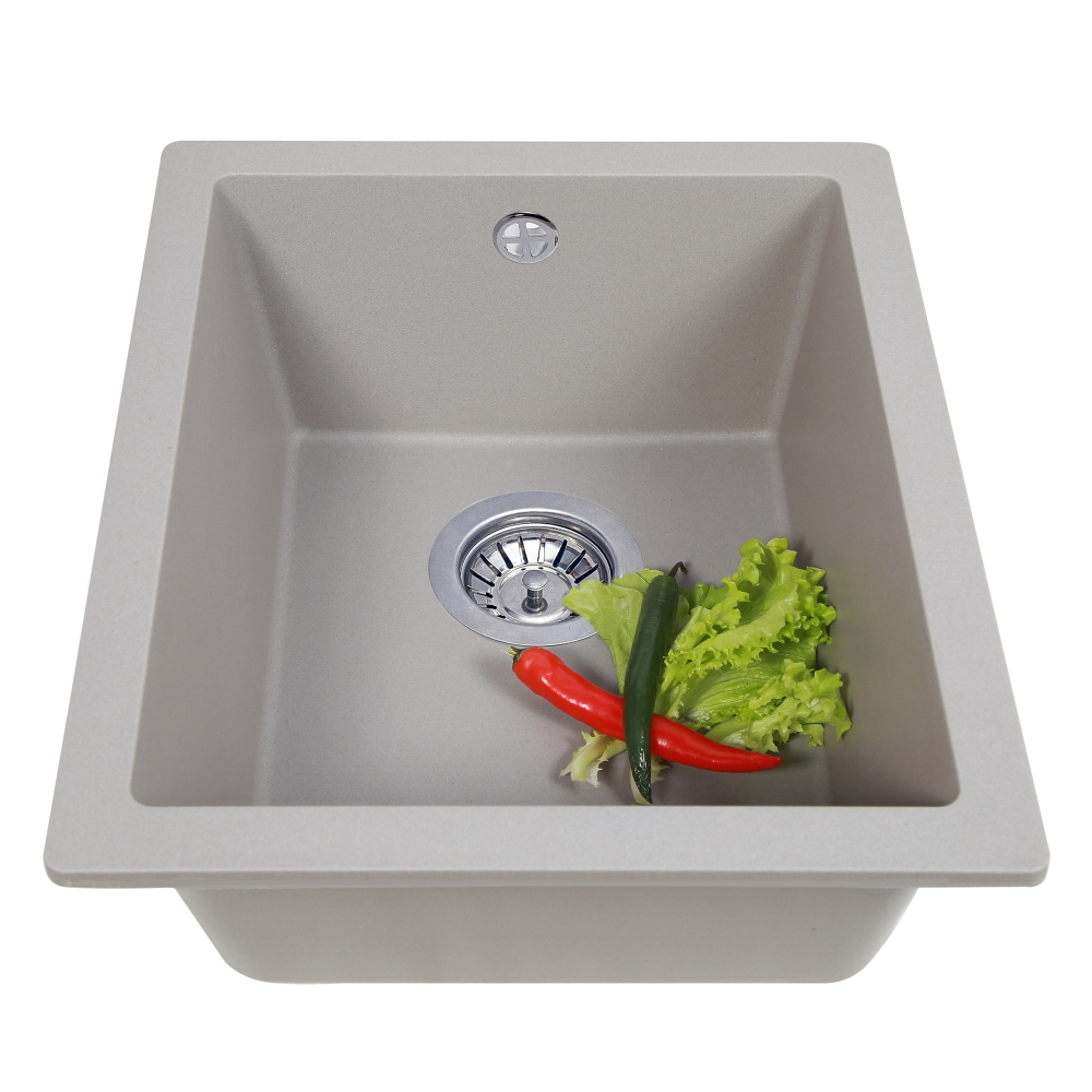 Granite kitchen sink Perfelli ESTO PGE 101-38 GREY METALLIC