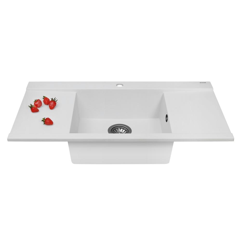 Мойка кухонная гранитная Perfelli ETERNO PGE 125-96 WHITE