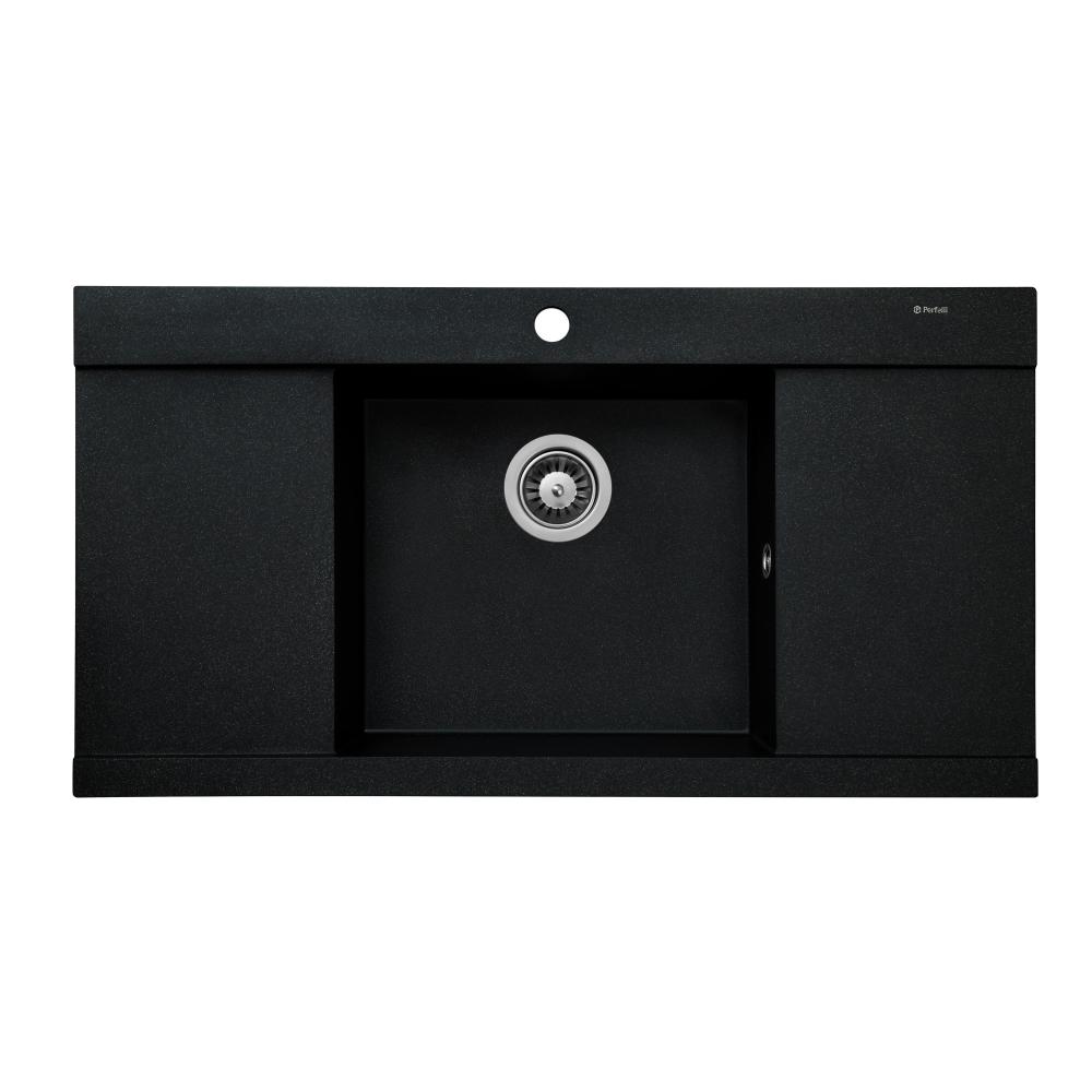 Granite kitchen sink Perfelli ETERNO PGE 1251-96 BLACK METALLIC