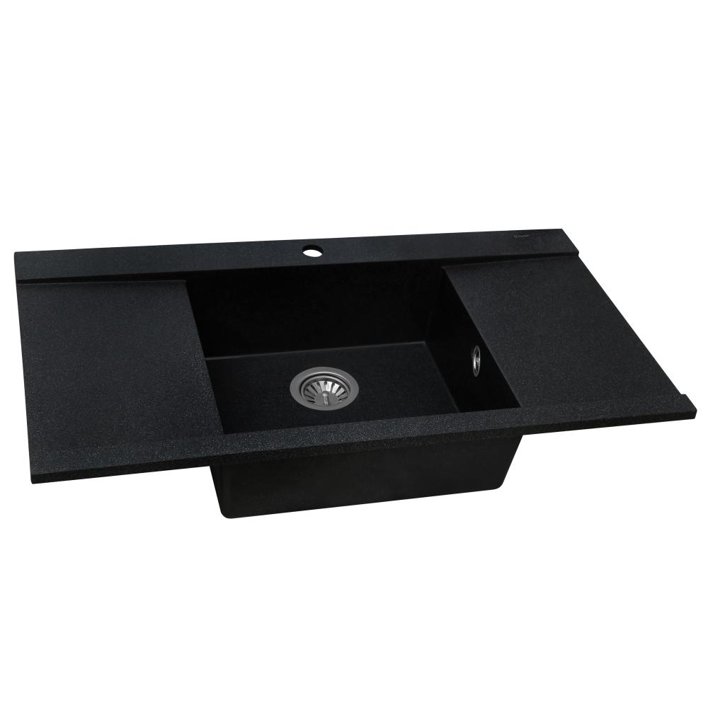 Мийка кухонна гранітна  Perfelli ETERNO PGE 1251-96 BLACK METALLIC